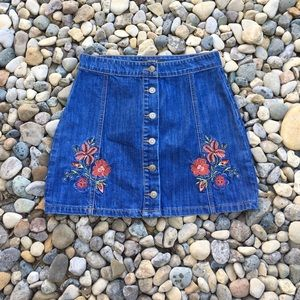 Denim Mini Skirt with Embroidered Detailing Medium